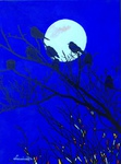 ravens, tree, night