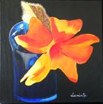 vase, orange flower