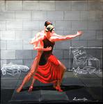 tango, couple, street