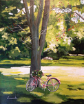 tree, bicycle, summer, meadow