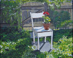 father, geranium, chair, garden, fence, vine