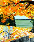 autumn, fall, garden, bicycle