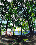 lake, trees, bicycle, fishing