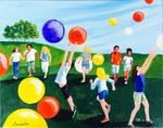 kids, balloons, play, joy