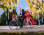 bicycle, wedding, just married couple
