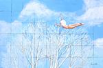 flying nude, sky, blue sky, escape