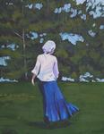 lady, young woman, blue dress