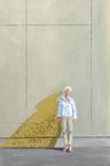 sunny, wall, woman