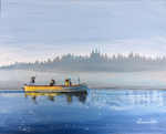 boat, lake, fog