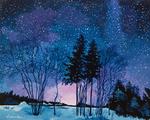 night, dark, starry sky, stars, trees