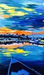sunset, sea, boat, Romania