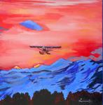 Airplanes, flight, sunrise, mountain