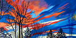 sunset, trees, colourful sky, sky