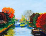 bridge, river, peaceful