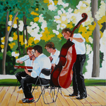 musicians, park, cello, guitar, violin