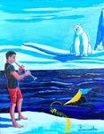 Clarinetist, polar bear, iceberg, kite, ocean, climate change