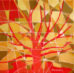tree, stained glass, red and gold