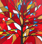 tree, stained glass