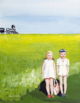 little kids, train, summer, field