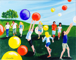 children, kids, play, balloons, fun, summer